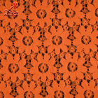 Soft Fancy Burnt Orange Embroidered Lace Fabric For Saree Clothes