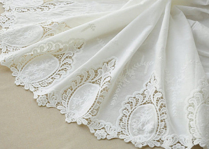 Cotton White Crochet Lace Fabric / Embroidered Lace Fabric For Home Textile 130cm