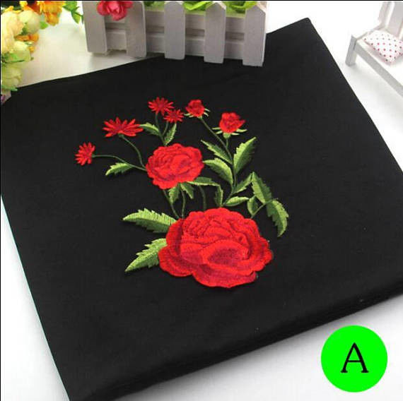 Polyester Embroidered Iron On Patches Appliques With Boutique Rose Flower 19*14 cm