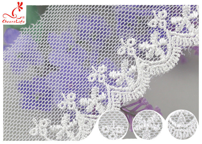 White Width 4CM Mesh Lace Ribbon Embroidery Fabric For Curtain Decoration